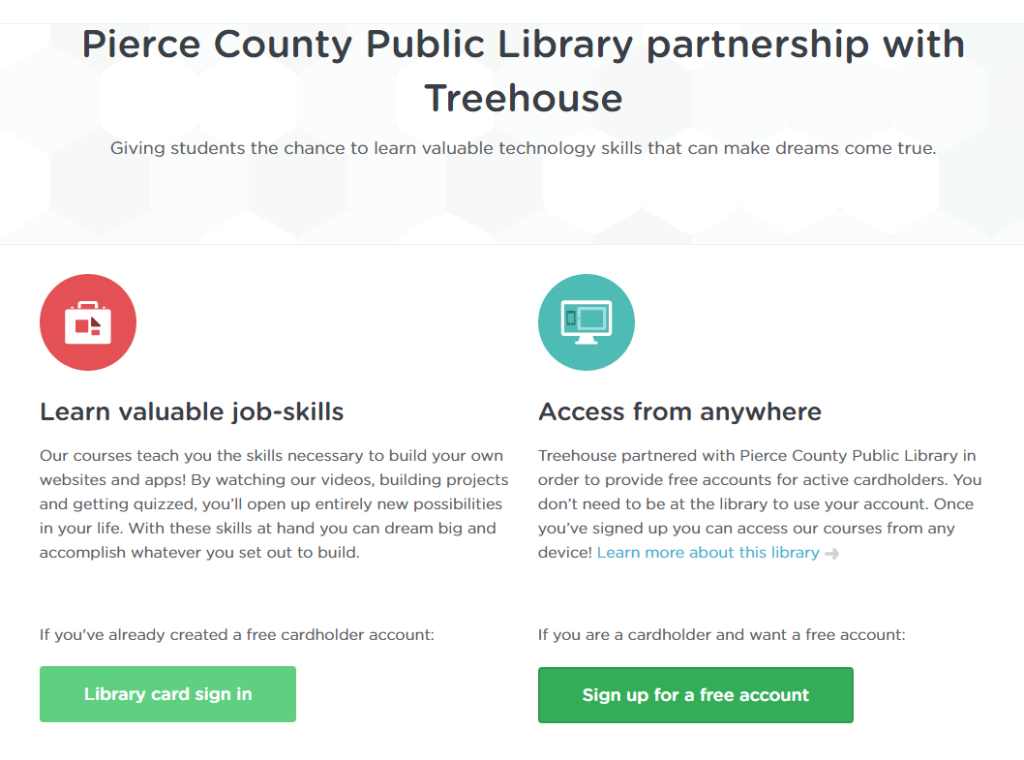 Sign up for Treehouse with Pierce County Library partnership
