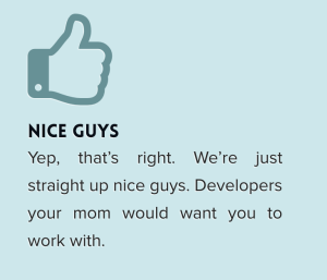 "Text box saying: NICE GUYS ""Yep, that's right. We're just straight up nice guys. Developers your mom would want you to work with."""